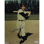 Phil Rizzuto Signed Swing Follow-Through Pose Dark Tone 8x10 Photo (JSA)